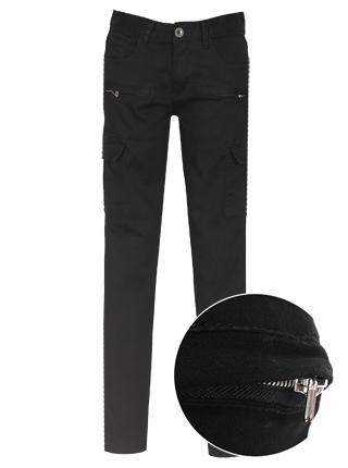 [더산의류] 남성 BDP-015 지퍼라인 포인트 슬림일자 카고팬츠- 블랙